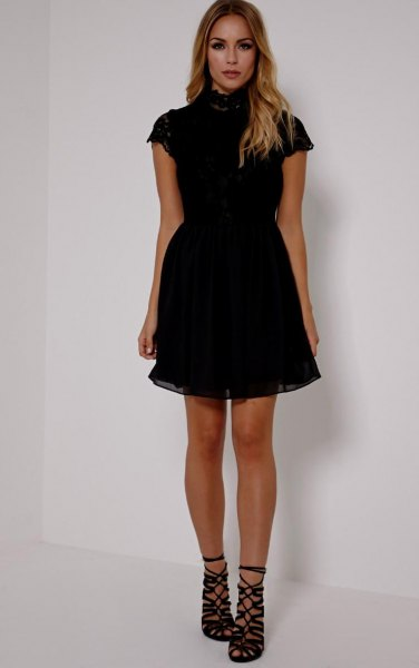 black short sleeve high neck tulle dress
