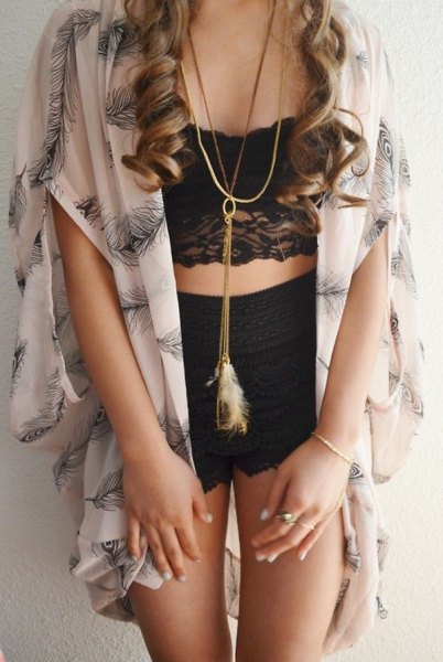 black shorts oversized pink sleeveless chiffon cardigan