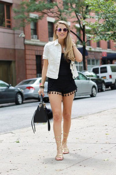 black shorts white denim shirt outfit