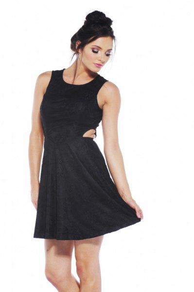 black skater dress mini cutouts