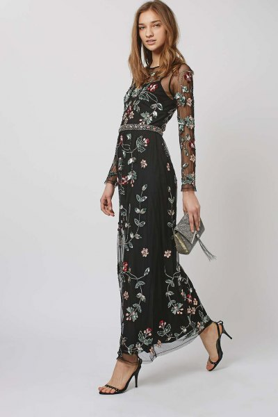 black spaghetti strap maxi floral dress