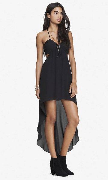 black spaghetti strap side cutout high low dress