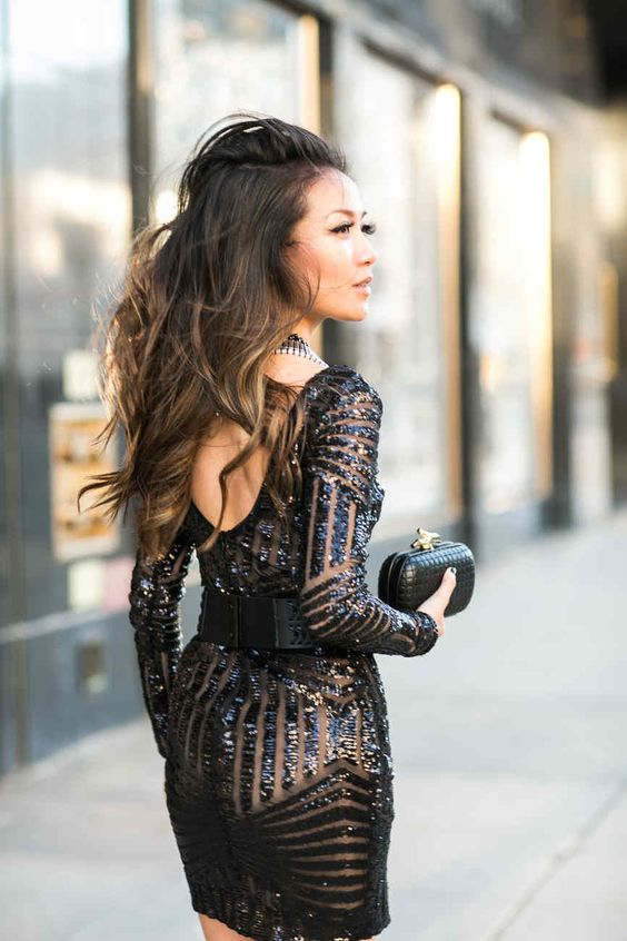 black sparkly dress mesh