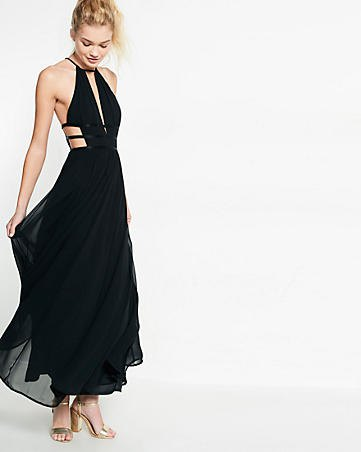 black strappy maxi chiffon dress