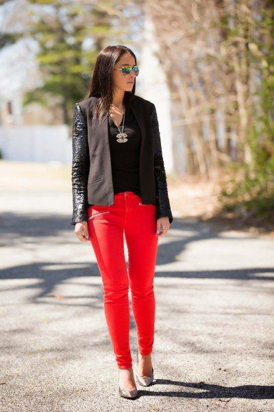 black top leather blazer outfit