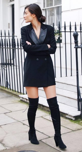 black tuxedo dress thigh high suede boots