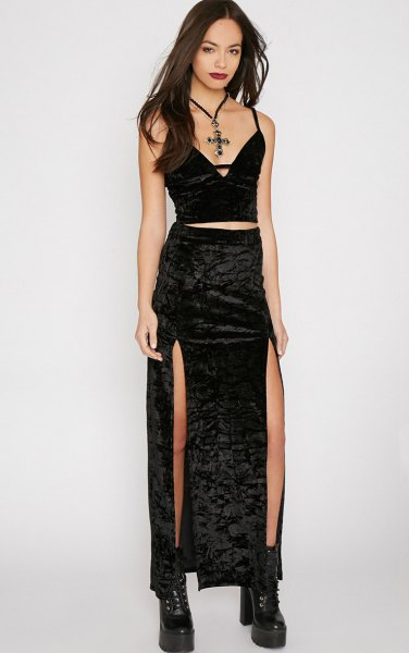 black two piece velvet double slit dress