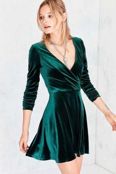 black velvet v neck wrap dress