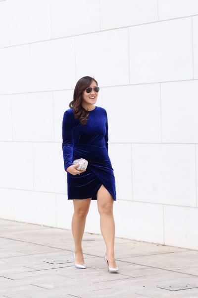 blue long sleeve velvet mini dress