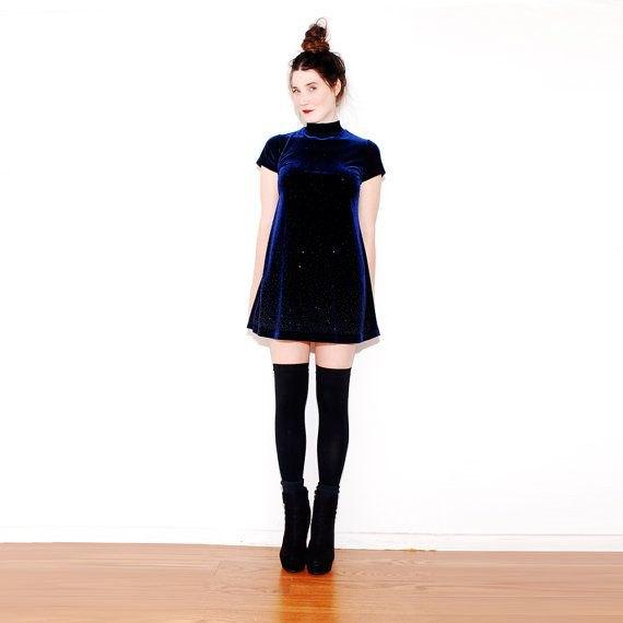 blue skater dress thigh high boots