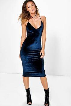 blue spaghetti strap velvet bodycon midi dress
