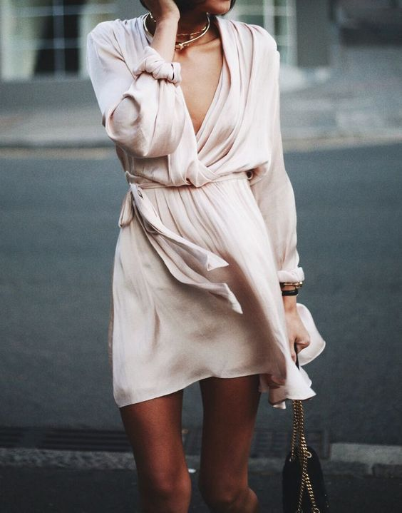 blush pink dress flowy silk