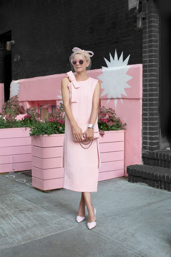 blush pink dress retro vibes