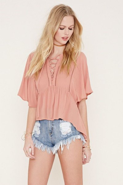 blush pink lace up flutter sleeve top