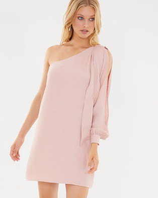 blush pink one sleeve loose fit shift dress