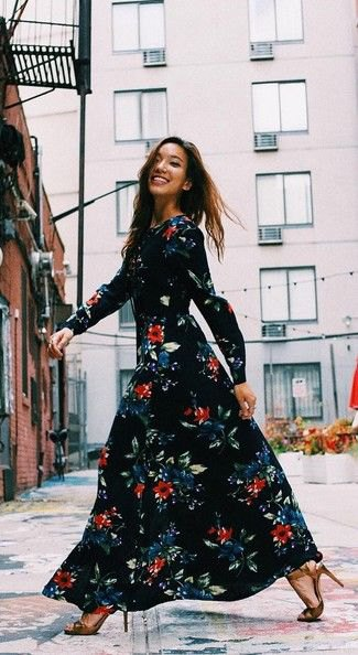breezy black maxi floral dress
