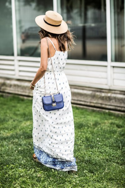 breezy white and blue printed maxi dress
