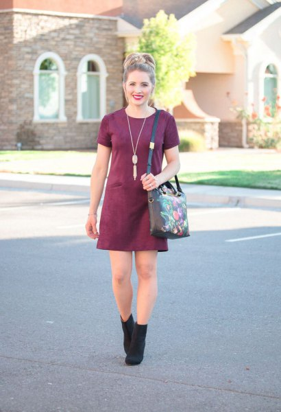 burgundy suede mini dress black ankle heels
