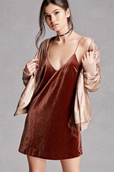 burgundy velvet slip dress gold bomber jacket