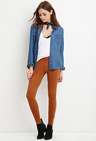 camel suede leggings white vest top chambray shirt
