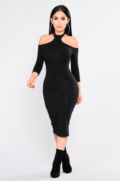 choker cold shoulder bodycon midi dress
