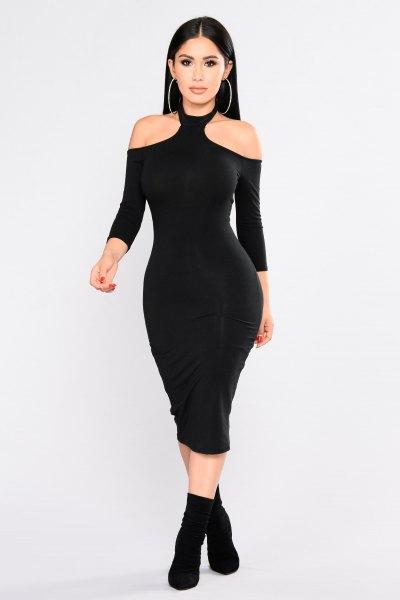 choker cold shoulder bodycon midi dress