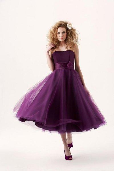 dark purple strapless chiffon tulle bridesmaid dress