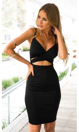 deep v neck black bodycon dress waist cutout