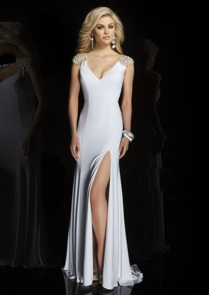 deep v neck high split satin floor length dress