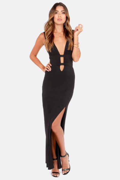 deep v neck maxi cutout dress
