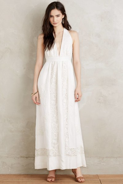 deep v neck white boho maxi dress