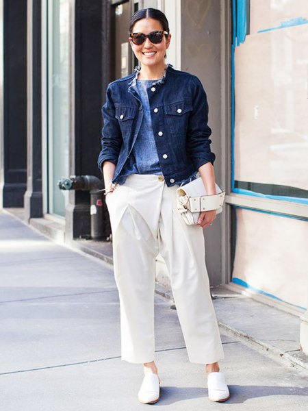 denim jacket white wide leg pants
