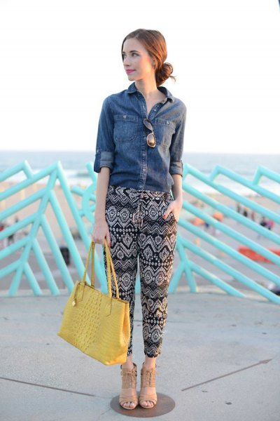 denim shirt black tribal pants