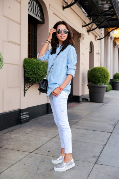 denim shirt light blue skinny jeans silver metallic shoes
