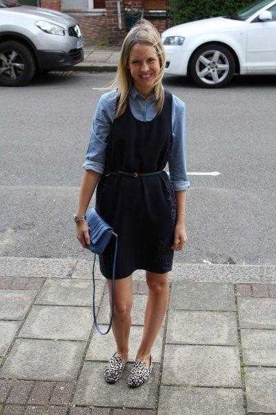 denim shirt navy belted dress