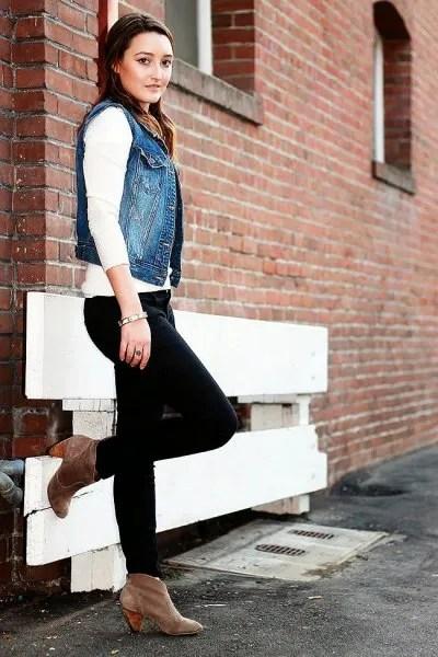 denim vest white long sleeve t shirt black jeans