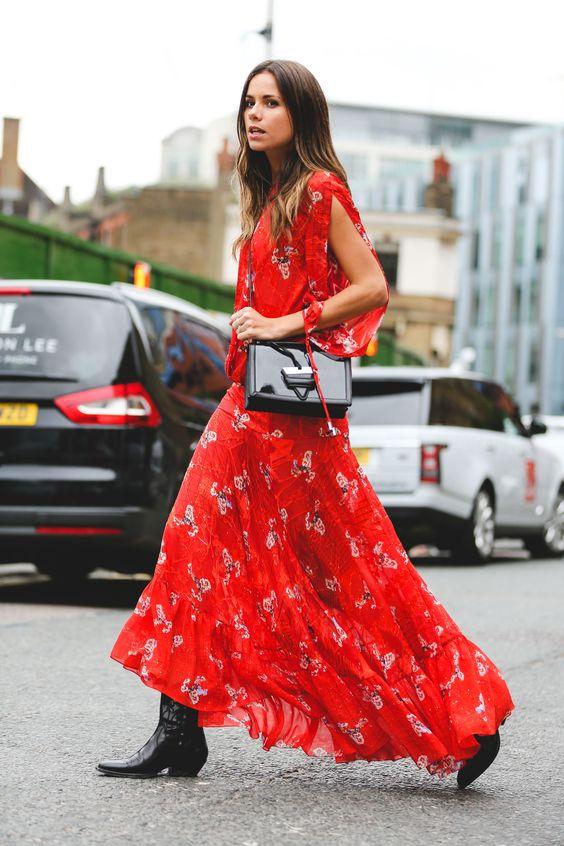 cowboy boots floral dress