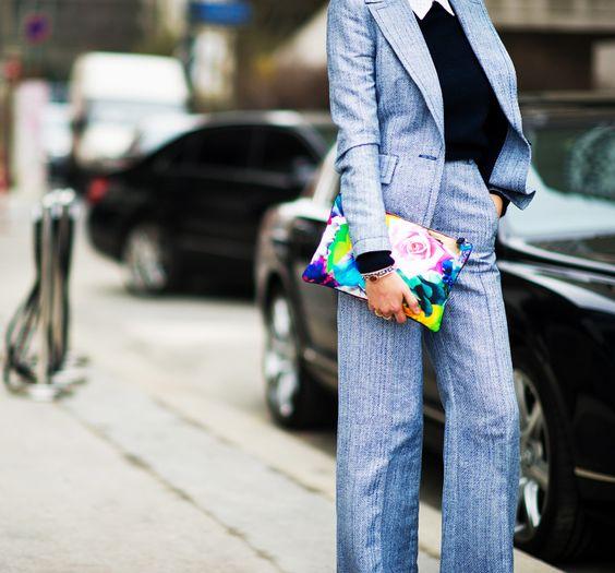 floral clutch bag pantsuit