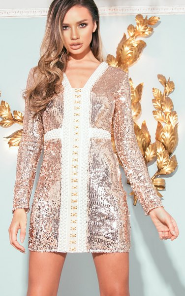 gold and white bodycon dress