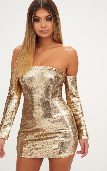 gold long sleeve off the shoulder bodycon dress