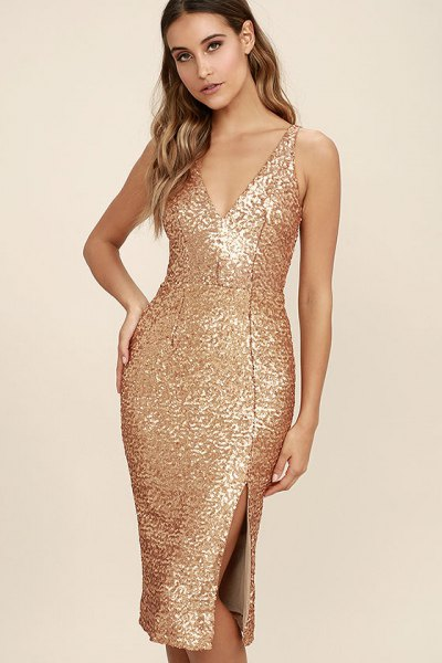 gold sequin deep v neck midi bodycon dress