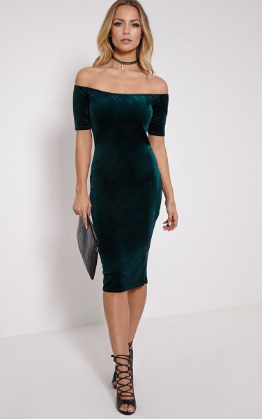 green off the shoulder velvet midi dress