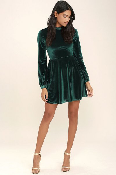green velvet skater dress silver heels
