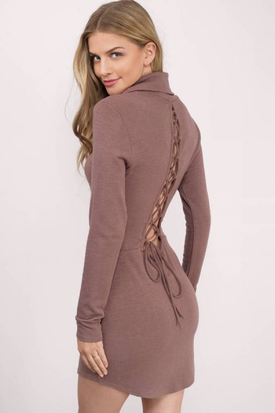 green wool lace up back bodycon dress
