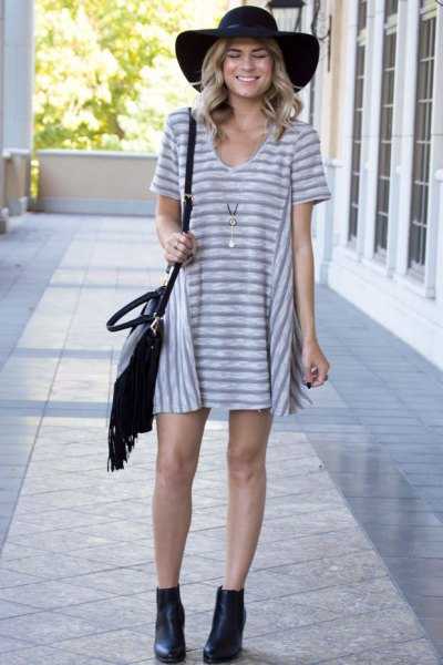grey and white striped v neck t shirt dress