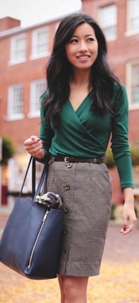 grey button front pencil skirt outfit