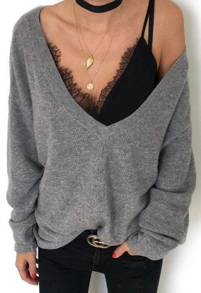 grey deep v neck oversized sweater
