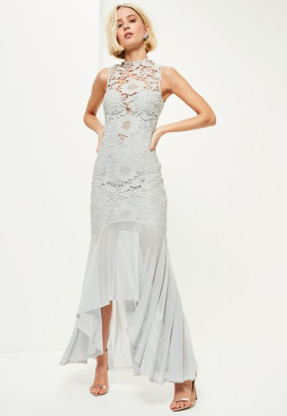grey lace dress with asymmetric fishtail