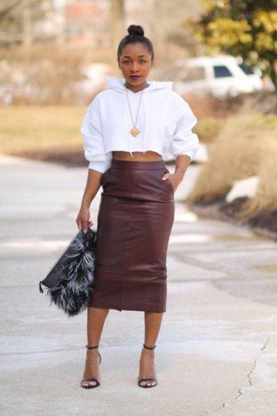 grey leather high waisted skirt