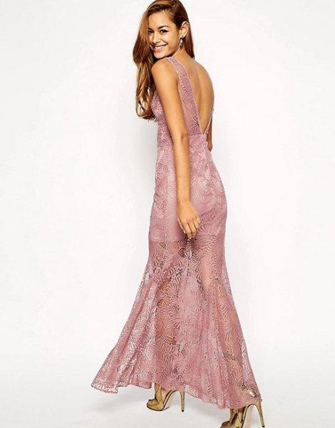 grey maxi dress semi sheer lace overlay